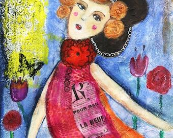 Art Print, Poster print, woman illustration. Mixed media, Watercolour, ink, Acrylic Wall Art Print, A4 Print, A3 Print
