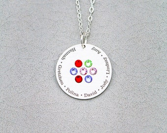 Family Birthstone Circle Necklace • Birthstone Pendant Mother's Day Gift Family Jewelry • Grandma Necklace Grandmother Gift Birthstone BB_18
