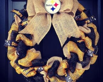 Custom Made NFL wreath: Pittsburgh Steelers