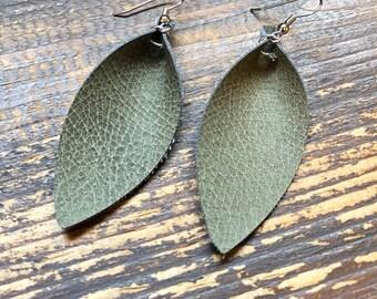 Olive Green Leather Leaf Earrings-Joanna Gaines Inspired Earrings-Large Leaf Earrings-Lightweight Leather Earrings