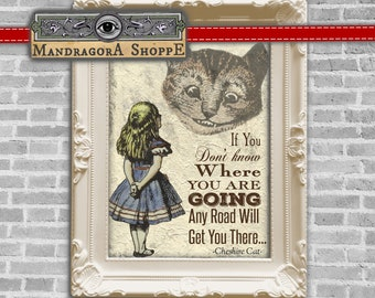 Alice in Wonderland Cheshire Cat quote  digital instant download printable collage sheet  framing card making decoupage clip art