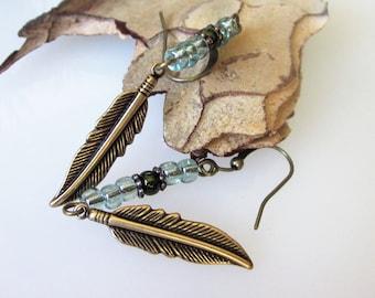 Metal Feather Earrings, Medium Brass Feather, Mens Dangle Earrings,Tribal Jewelry, Bohemian Jewelry, Unisex Jewelry, Blue Beaded Earrings