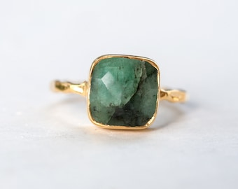 40 0FF - Raw Emerald Ring - May Birthstone Ring - Gemstone Ring - Stacking Ring - Gold Ring - Stacking Ring