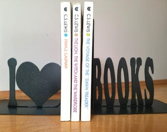 Bookends - I Love Books Metal