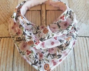 Floral Bandana Bib - Girls Bandana Bib - Valentine's Day Bib - Baby Shower Gift - Pink Baby Bib - Baby Girl Valentine's Day Outfit