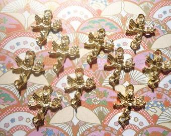 10 Goldplated Cherub Angel Charms