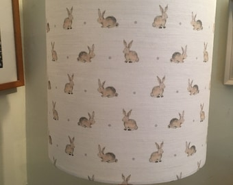 25cm Handmade lampshade Flohr & Co Bunnies , Dove Grey Spot