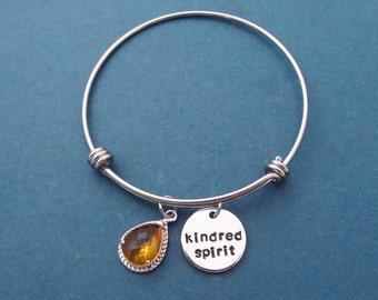 Kindred Spirit, Bangle, Bracelet, Jewelry, Book, Gift, Orange, Red, Glass