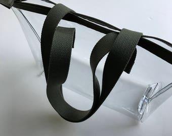 Clear vinyl bag, see thru bag, vegan clear vinyl bag, security clear vinyl zip tote, clear shoulder bag, concert bag, transparent zip tote,