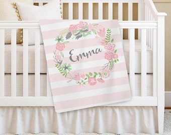 Personalized Baby Blanket, Pink Flower Girl Baby blanket, Receiving Blanket, Crib Blanket, Swaddling Blanket, Baby Shower Gift