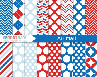 Digital Paper - Air Mail, Postal, air mail clipart, air mail paper, air mail chevron, royal mail envelope, royal mail, red and royal blue