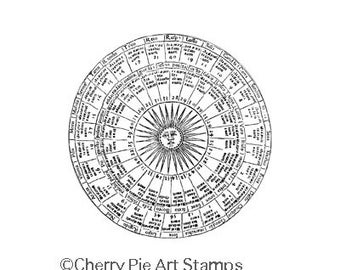 Sun Chart, esoteric, astrology  CLiNG RuBBer STaMP by Cherry Pie Q483