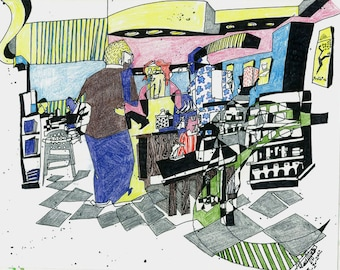 Coffee Shop in Roanoke, On Location Art, Reportage, Urban Art, Expressionism