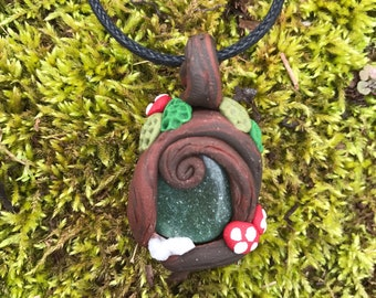 Green Stone Forest Pendant with Quartz Crystal
