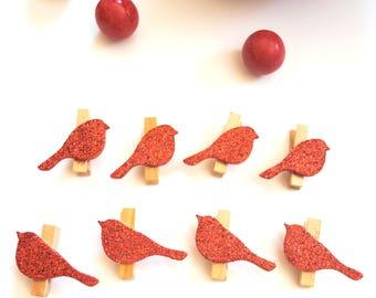 Red Glitter Bird Clips