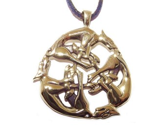 Bronze Wild Hunt Celtic Dog / Hell Hounds Pendant Necklace