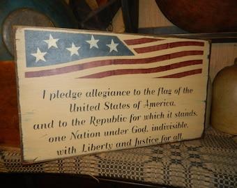Flsg America Pledge of Alliegence Primitive Sign