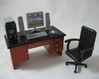 1:12 Scale new dolls house miniature desk +chair+ computer set