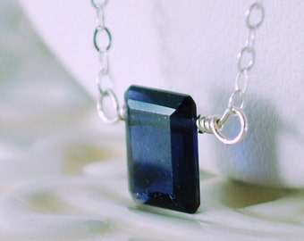 Emerald Cut Necklace, Iolite Jewelry, Water Sapphire, Semiprecious Gemstone, Child Children Girl, Sterling Silver, September Birthstone