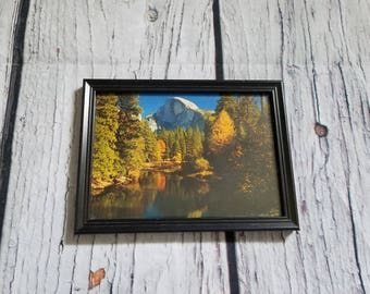 Vintage Retro Half Dome Yosemite Framed Picture Wilderness Mountain Fall