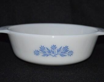 Vintage Anchor Hocking 1 Qt Baking Dish, Anchor Hocking Fire King Blue Cornflower Pattern, Round 1 Qt Casserole Dish