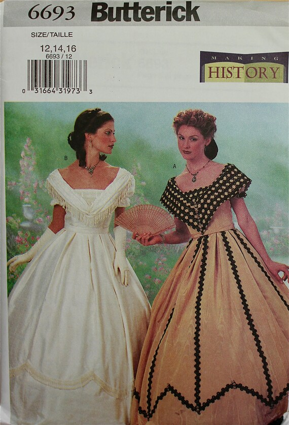 Southern Belle Costume Making History Butterick Pattern 6693