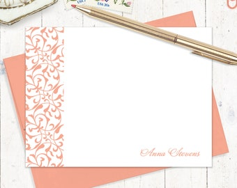 personalized flat note cards set - LACY FLOURISHES - set of 12 cards - womens stationery - stationary - gift set