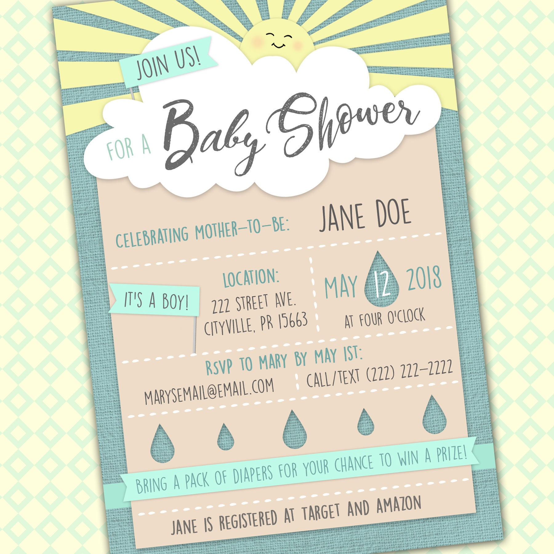 Cloud Baby Shower Invitation Cute Shower Invite April Baby