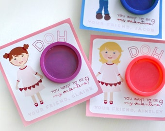 Printable classroom valentine tags - Valentines day play dough labels - Doh you want to be my valentine - Customizable illustration of child