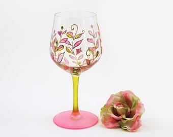 Foliage wine glass - Hand painted wine glass