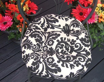 Indoor / Outdoor Tufted Round Bistro Cushion with ties ~ Black and Ivory Damask Scroll ~ Choose Size