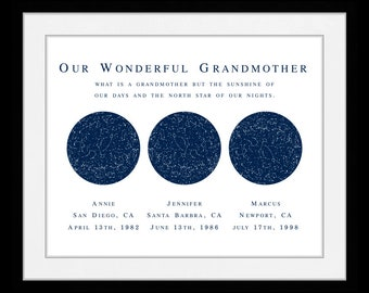 Grandma Grandfather Gift, Personalized Grandparent, Christmas Gifts For Grandparents, Grandma Gift, Unique Grandparent Gifts, 3 Maps Names