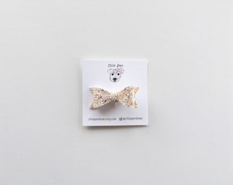 The Harper Glitter Bow Clip or Nylon Headband in Blushing Bride, sparkly clips, toddler hair clips, nylon baby headbands, glitter bows