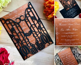 pumpkin laser cut gatefold wedding invitation autumn fall halloween party event custom pumpkins with iron gate