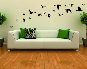 Flock of bird wall decal stickers