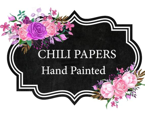 Floral Chalkboard Frame Clipart: \