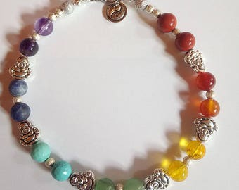 Chakra Stones Anklet Handmade by Reiki Master - Buddha and Yin Yang Charm