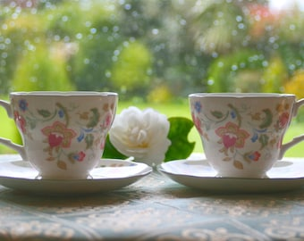 Pair of Duchess Bone China Teacups and Saucers