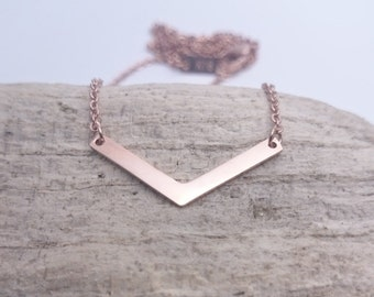 Rose Gold Triangle V chevron necklace//Geometrical Minimalist Necklace 18k rose gold plated stainless steel/Hypoallergenic Jewelry