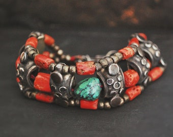 Reserved for C. - Antique Ladakh Coral Turquoise Bracelet - Indian Coral Turquoise Bracelet - Old Coral Bracelet - Himalayan Jewelry