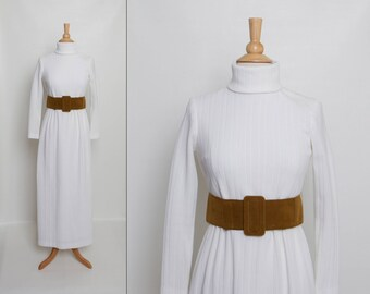 vintage 70s belted sweater dress | 1970s ivory turtleneck maxi dress
