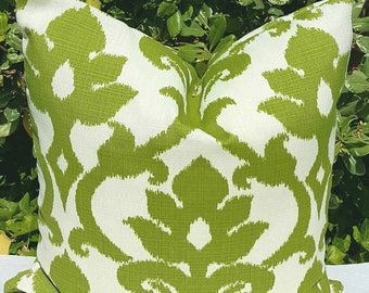 IKAT Richloom Solarium Basalto Kiwi Green Ivory Decorative Outdoor Pillow Cover 16x16 18x18 20x20 22x22 16x12,18x12 more sizes with Zipper