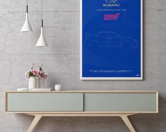 Subaru Impreza WRX STi  Poster Art Print, Car Poster, Wall Art, Subaru Poster