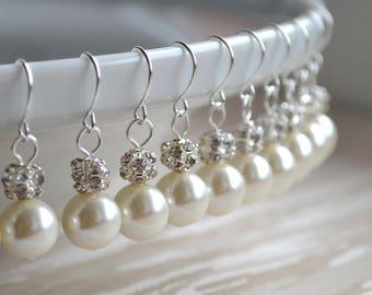 Earrings Set of 9 Bridesmaid pearl jewelry set of 9 Rhinestone earrings Bridesmaid earrings set Bridesmaid gift Bridesmaid earrings set of 9