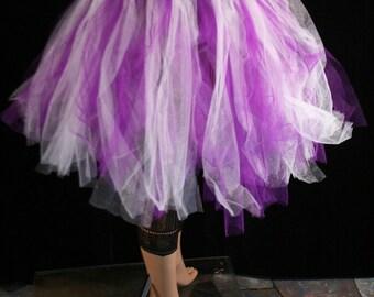 Streamer knee length tutu skirt adult purple white halloween dance fairy  -- You Choose Size -- Sisters of the Moon