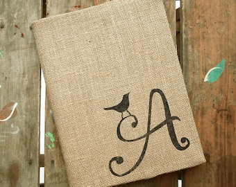 Bird Letter - Monogram Burlap Journal Cover w. Notebook - Initial Journal - Journal Lined  or Journal Blank - Journal Personalized
