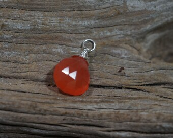 Charm Stone Carnelian wire wrapped pendant add a charm Gemstone wire briolette