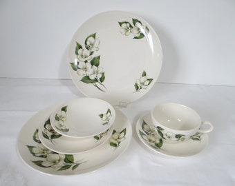 Vintage Homer Laughlin Rhythm White Flower Six Piece Place Setting White Flower Pattern Dishes - Homer Laughlin Dinnerware - 2 Available