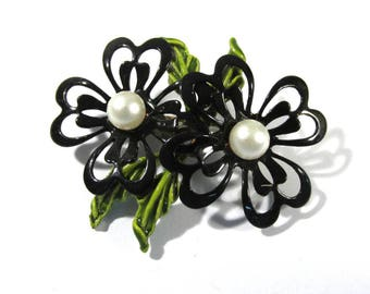 Enamel Flower Pin VINTAGE Pearls Black Enamel Pin Brooch FLOWER Enamel Flower Pin Brooch Ready to Wear Vintage Jewelry Supply (Y307)