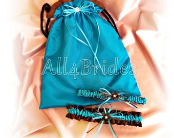 Wedding Bridal Garter and Drawstring Bag - Something Blue - Turquoise and Chocoloate Brown Wedding Dollar Dance Bag